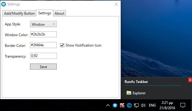 RunAs Taskbar 1.7.0.1 176