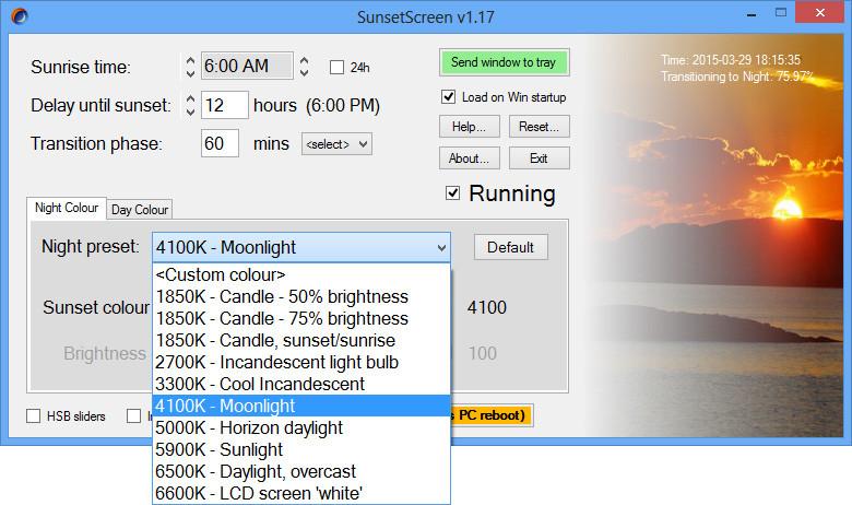 SunsetScreen 1.24 - Έξυπνη εφαρμογή για την προστασία των ματιών σας Sunset10