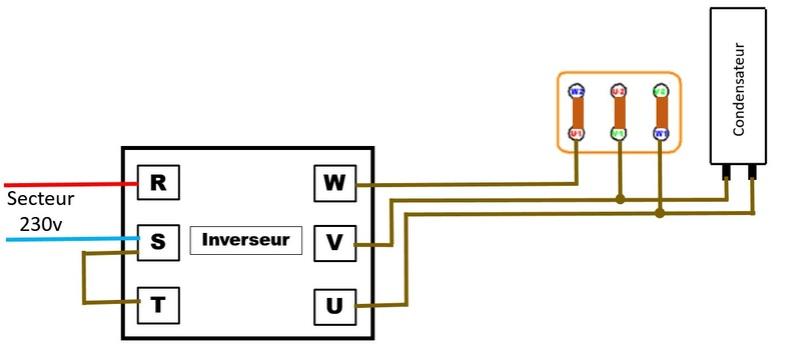 Inversion du sens de rotation d'un moteur 220V tri avec condensateur Invers10
