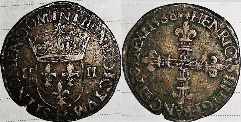 """Quart d'écu d'Henri III 1588 H """"La Rochelle"""" ? 13595610"""