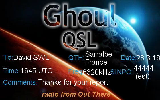 eQSL de Radio Ghoul 28-03-10