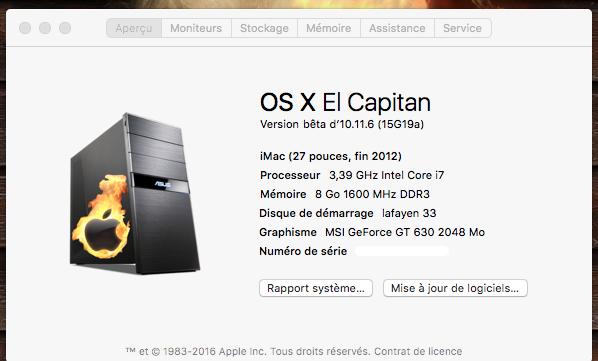 Mise a jour El Capitan Developer Beta 1    10.11.6 15g19a10