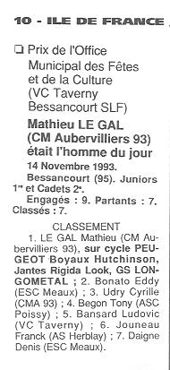 Coureurs et Clubs de Octobre 1993 à Septembre 1996 00242