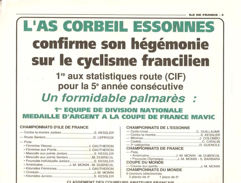 Coureurs et Clubs de Octobre 1993 à Septembre 1996 00730
