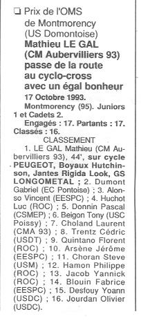 Coureurs et Clubs de Octobre 1993 à Septembre 1996 00927