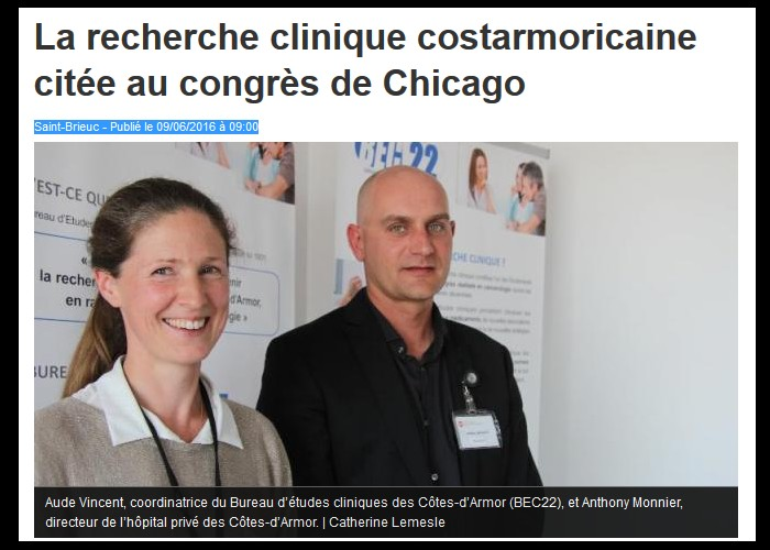 La recherche clinique costarmoricaine citée au congrès de Chicago  Sans_t10