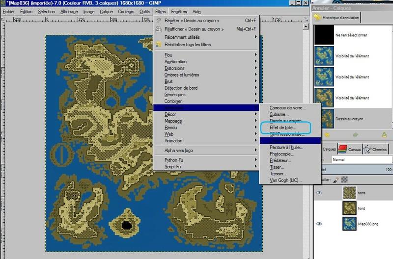 """Donner un effet """"vieille carte"""" à votre map (avec GIMP) 1610"""
