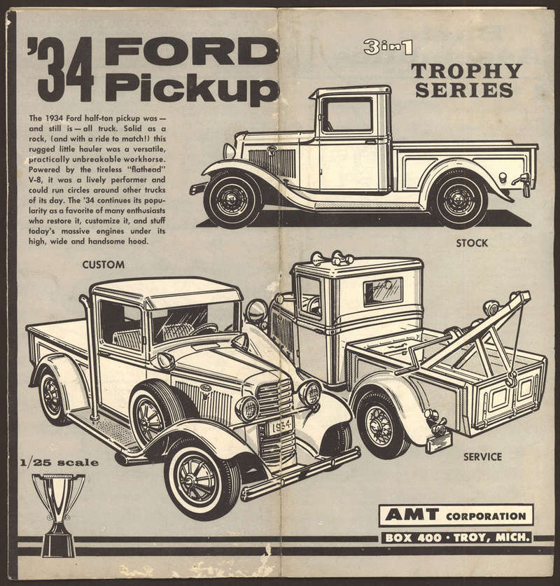 1934 Ford pick up - customizing kit - 3 in 1 - Trophie series - amt S-l16021