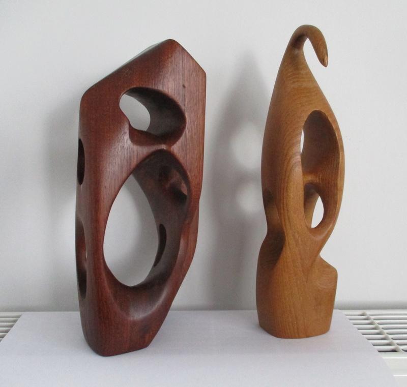 2 Teak Hepworth Type Abstract Sculpture. Mid Century? Img_0313