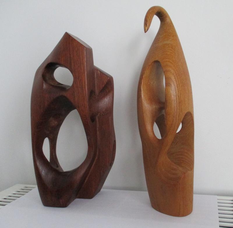 2 Teak Hepworth Type Abstract Sculpture. Mid Century? Img_0314