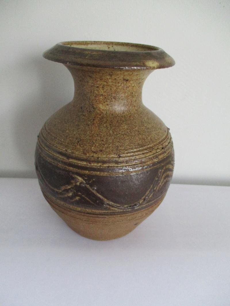 Sturdy Stone Ware Bud Vase Wavy Decoration. No Mark Img_0319