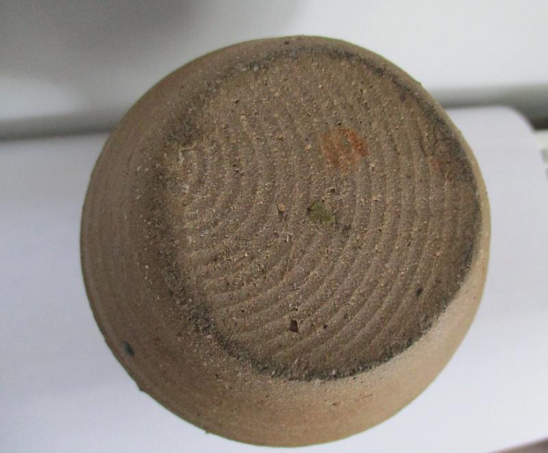 Sturdy Stone Ware Bud Vase Wavy Decoration. No Mark Img_0320