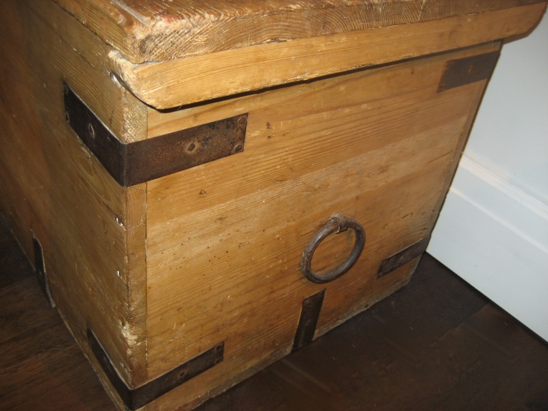 Old Pine Chest Iron Straps And Handles Img_4415