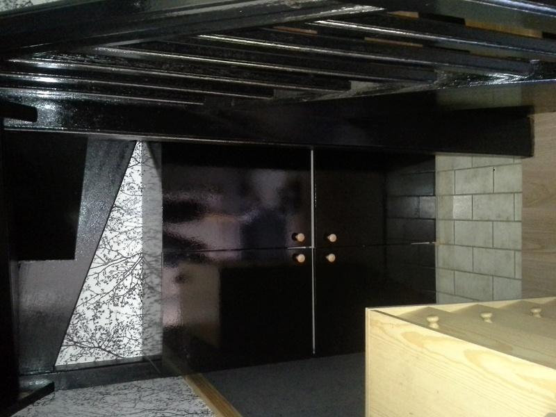 Escalier noir et bois clair 1110