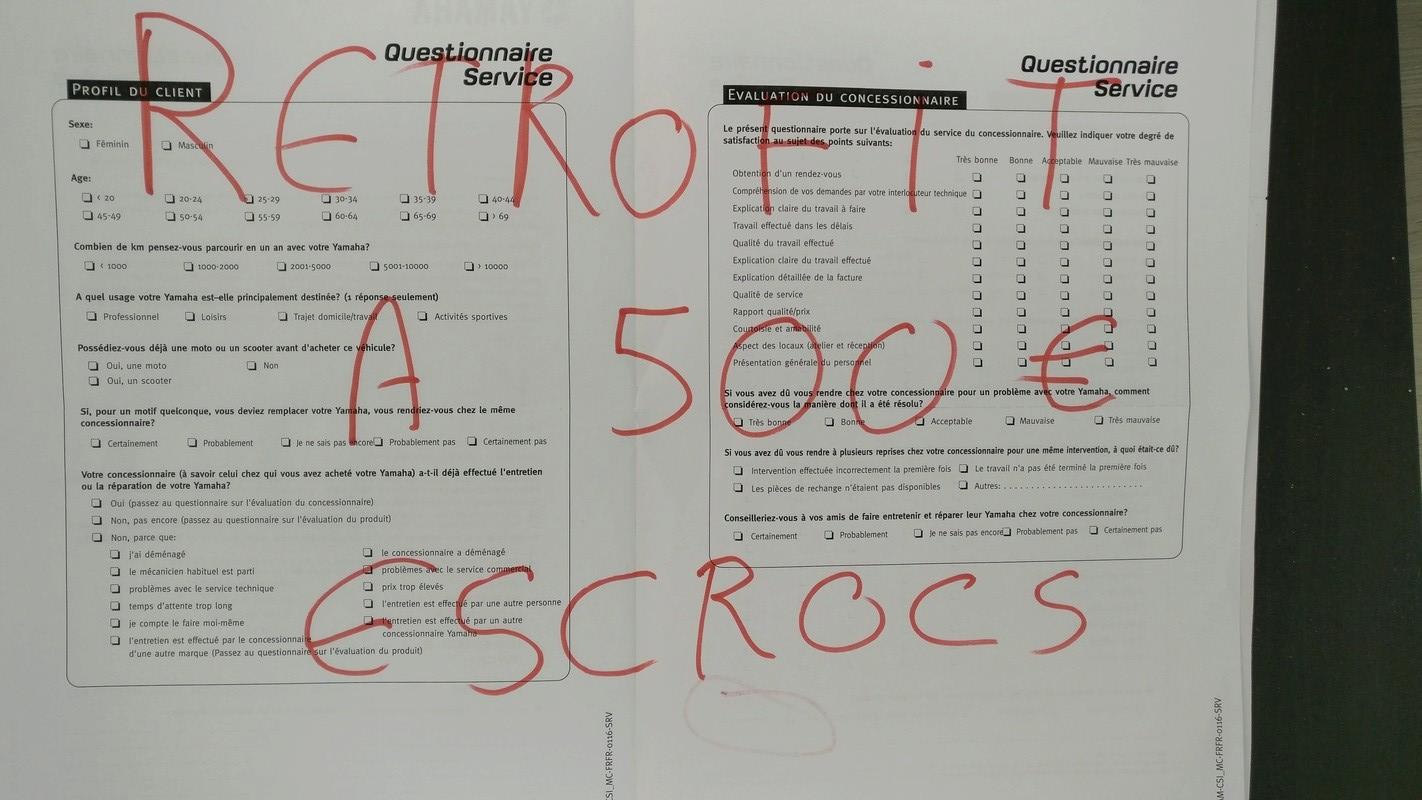 Questionnaire satisfaction yamaha... et rétrofit Retrof10