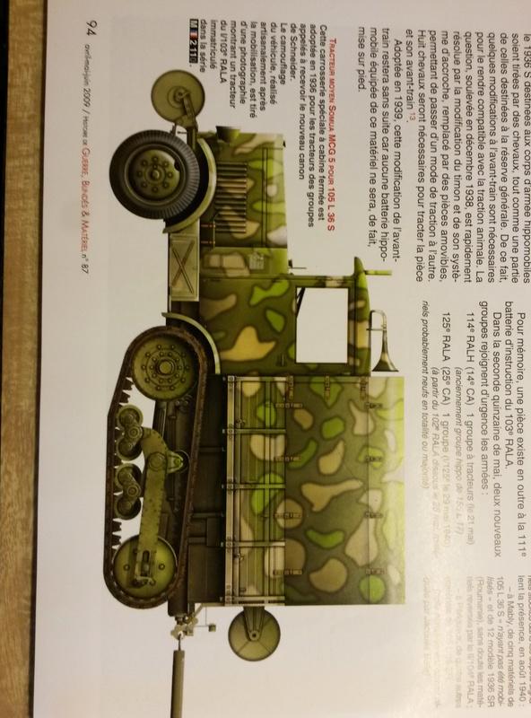 Canon de 105 L modèle 36 Schneider et tracteur Somua MCG 5 au 1/72 20160810