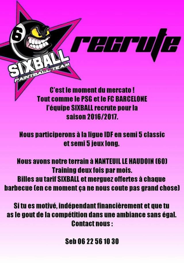 Team Sixball recrute (France / 60) Teamsi10