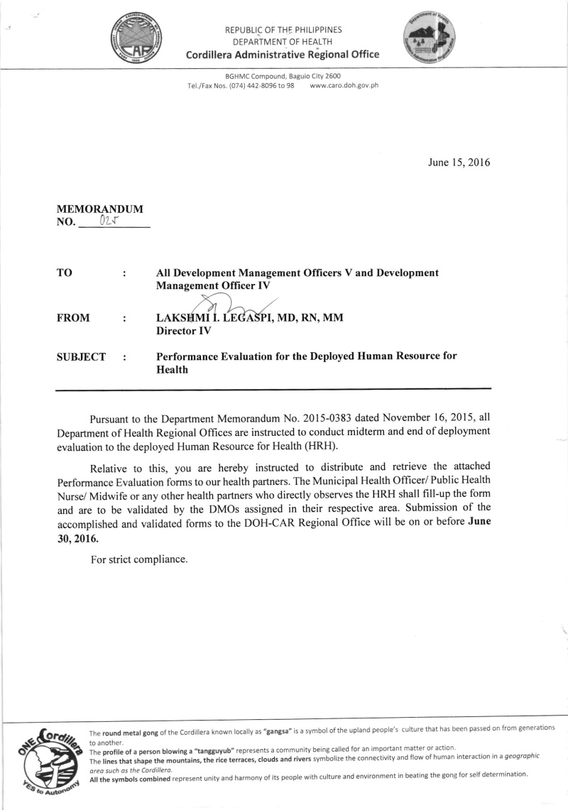 Memorandum 2016-025: Performance Evaluation for the Deployed HRH 02510