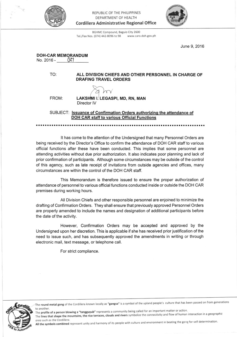 DCOM 2016-051: Issuance of confirmation orders authorizing the attendance of DOH-CAR staff to various official functions 05110