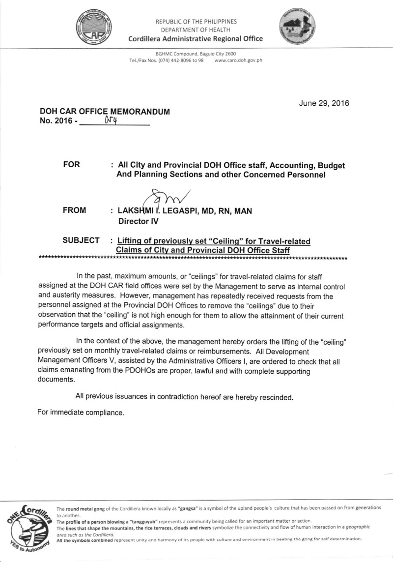 """DCOM 2016-054: Lifting of previously set """"ceiling"""" for the travel -related claims of city and provincial DOH Office staff 05410"""