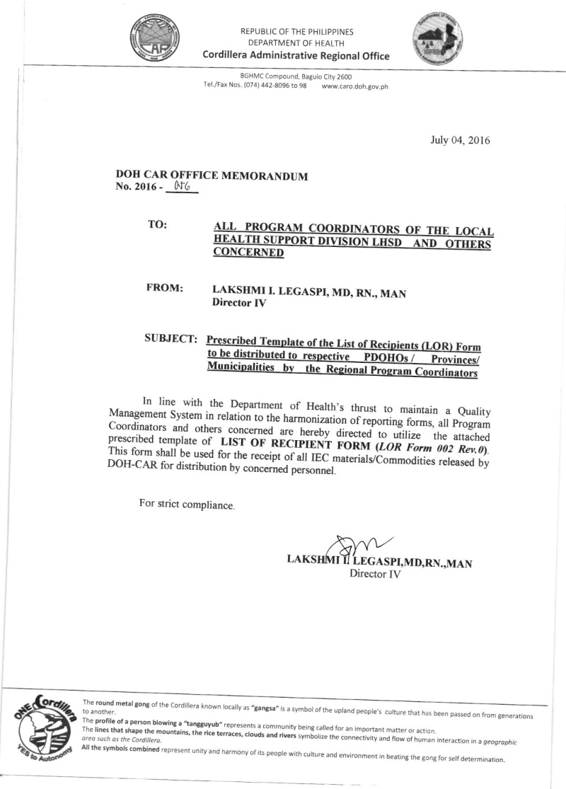 DCOM 2016-056: Prescribe template of the list of recipients (LOR) form to be distributed to respective PDOHO's / Regional program Coordinators 05610