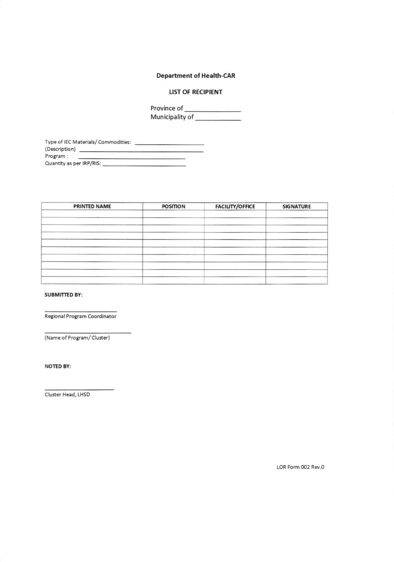 DCOM 2016-056: Prescribe template of the list of recipients (LOR) form to be distributed to respective PDOHO's / Regional program Coordinators 056_0010