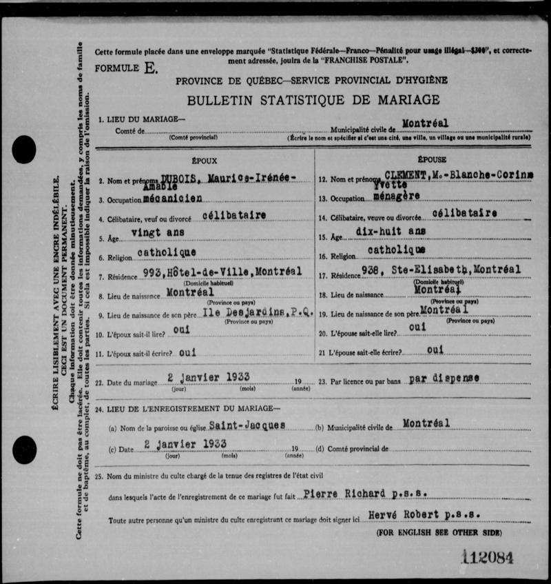 Mariage de William Dubois & Angèle Gaspard 33-11210