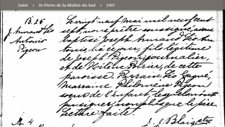Joseph Pigeon  et Hélène Poirier mariage introuvable Armand10