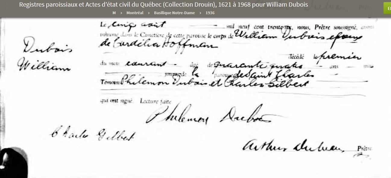 Mariage de William Dubois & Angèle Gaspard Deces_16