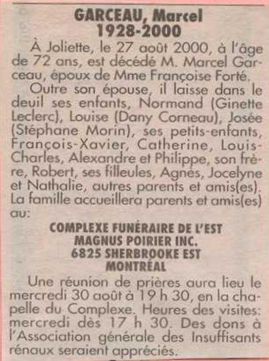 Qui sont les parents de Robert Garceau, décédé en février 2003 Dyces_17