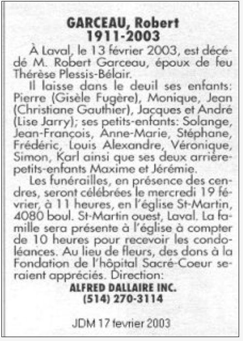 Qui sont les parents de Robert Garceau, décédé en février 2003 Dyces_18
