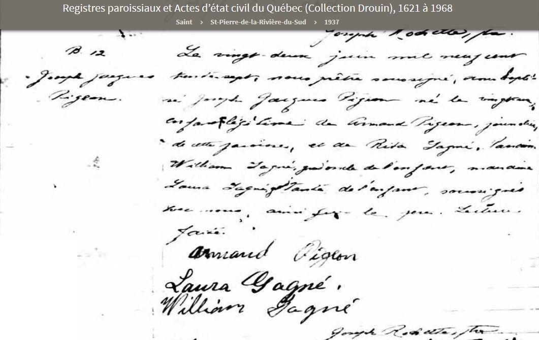 Joseph Pigeon  et Hélène Poirier mariage introuvable Jacque10