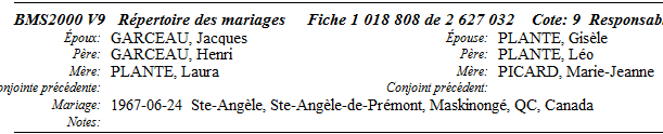 Garceau, Alfred et Angélina Millette Mariag11