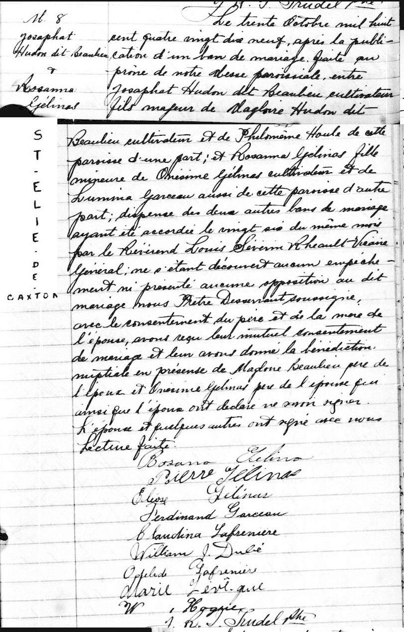 Philomène Houle et Magloire Hudon-Beaulieu info Mariag23