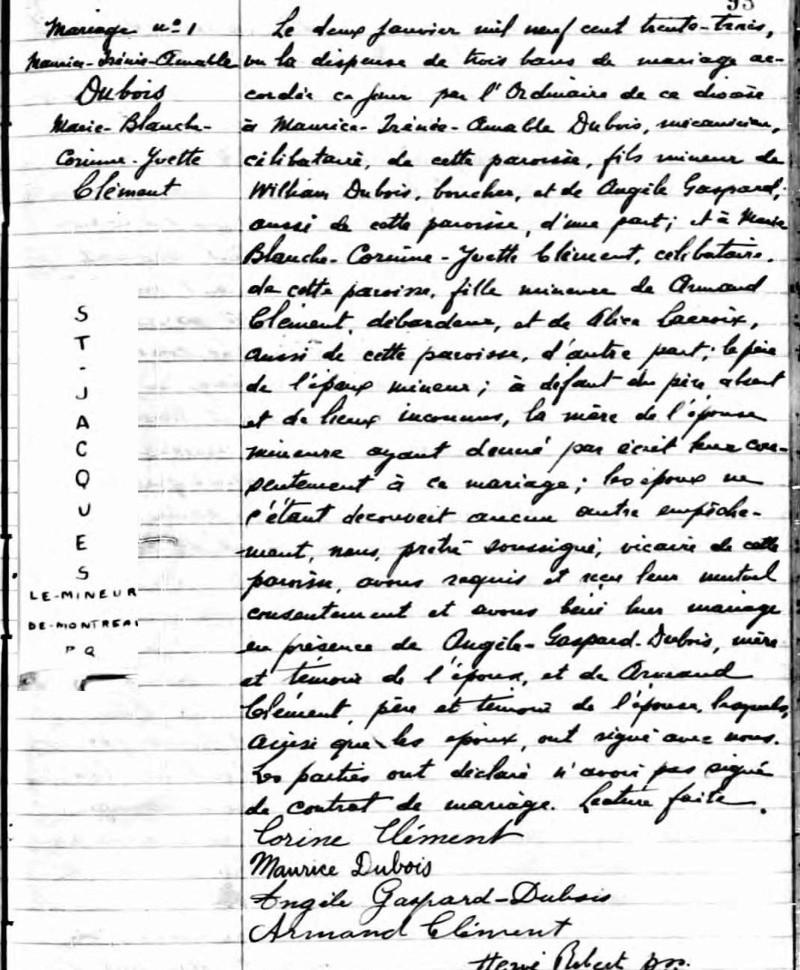 Mariage de William Dubois & Angèle Gaspard Mariag26