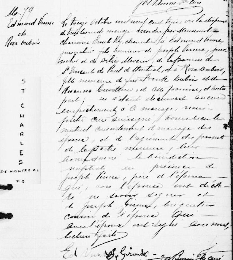 Mariage de William Dubois & Angèle Gaspard Mariag33