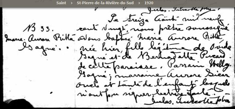 Joseph Pigeon  et Hélène Poirier mariage introuvable Naissa10