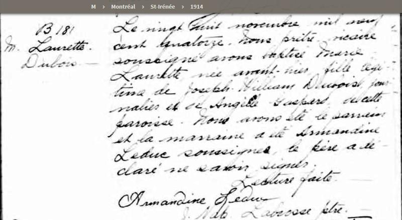 Mariage de William Dubois & Angèle Gaspard Naissa11