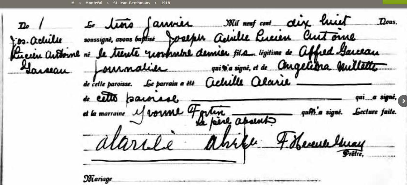 Garceau, Alfred et Angélina Millette Naissa18