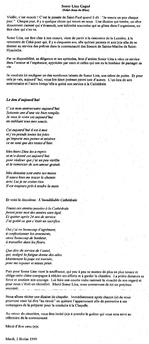 Gagné, Soeur Lina Poemes10
