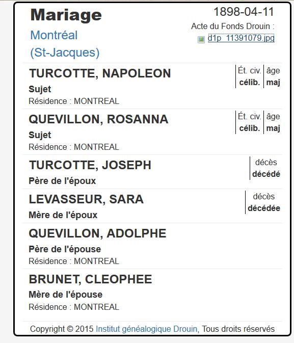 Mariage de William Dubois & Angèle Gaspard Turcot10