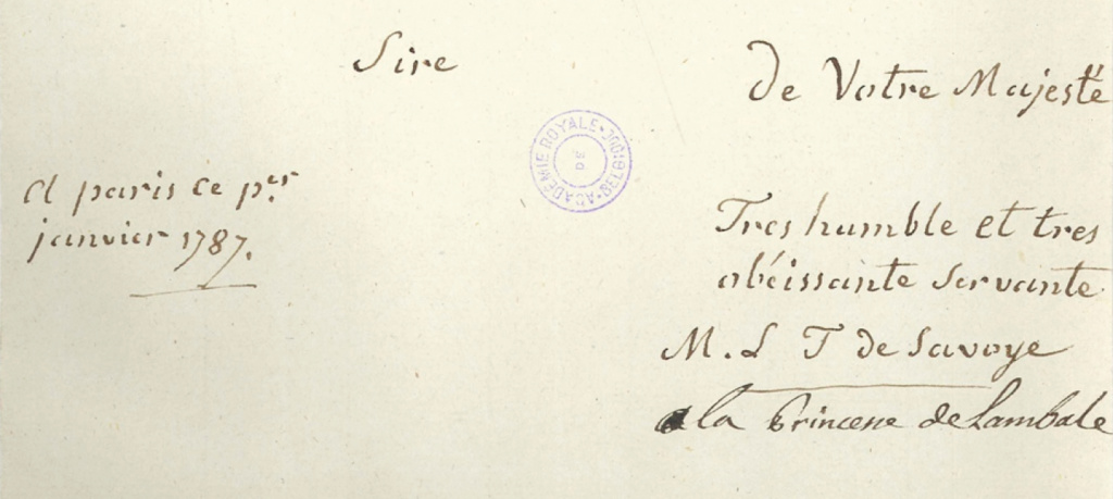 lettres de la princesse de Lamballe Zducre28