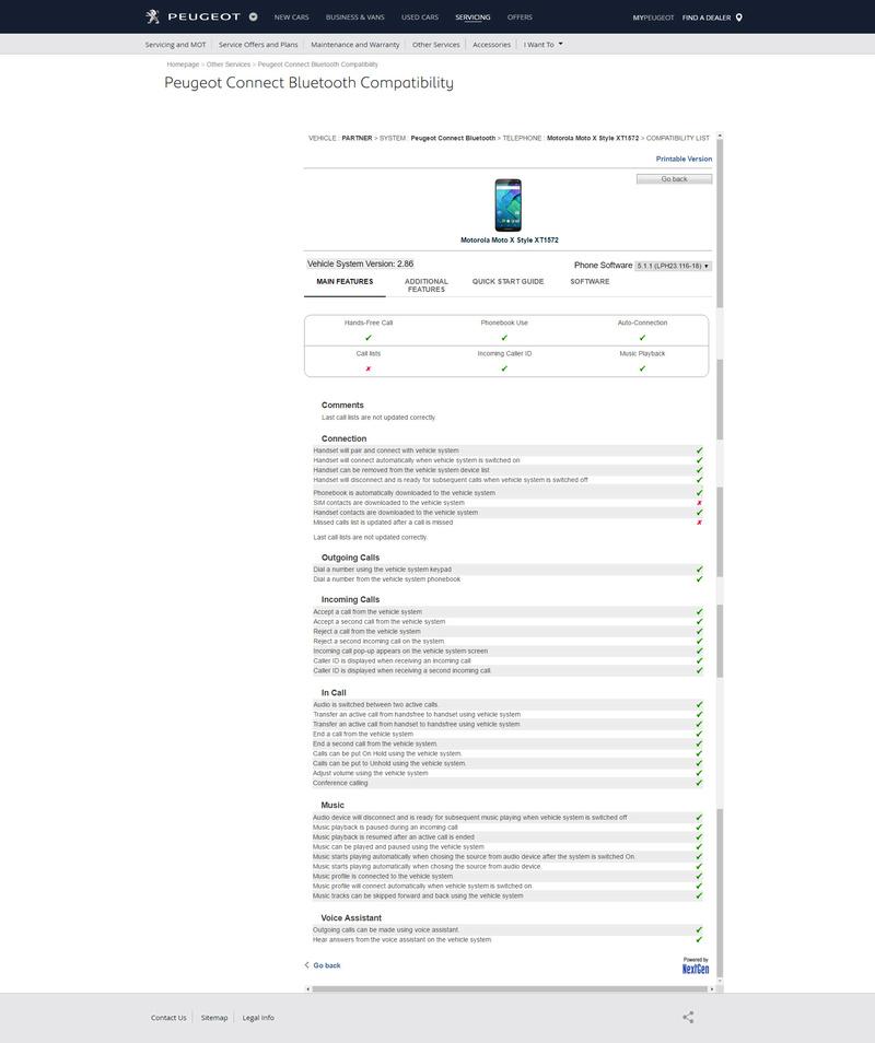 Compatibilité Bluetooh véhicules PSA Moto_x10