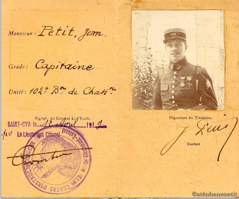 Jean Petit, officier du 102° B.C.P. 1916-1918. Jp13910