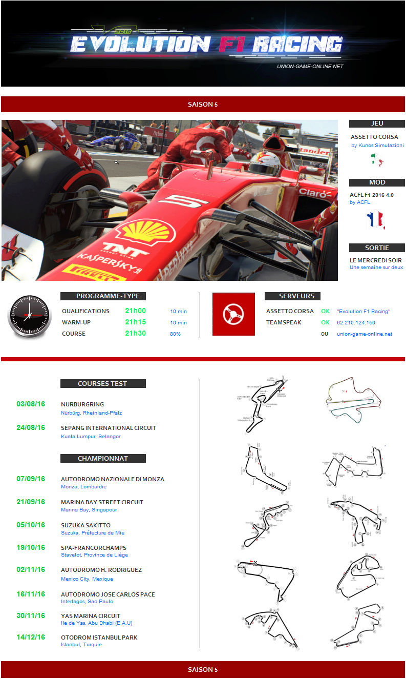 AC - Evolution F1 Racing / Saison 5 (Mod ACFL F1 2016) Affich10
