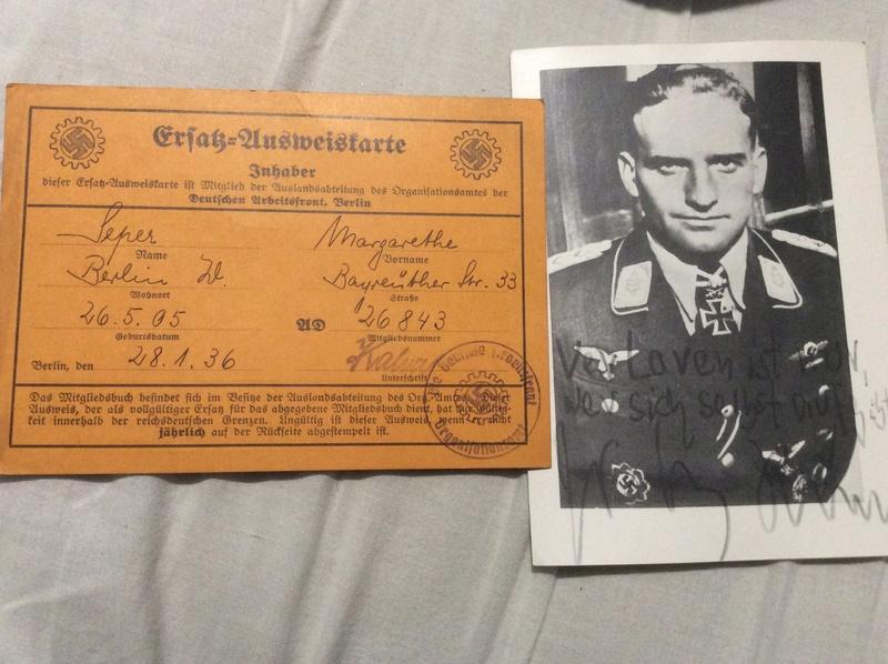 Casque SS , badge du parti nazi et papiers a identifier . Casque14