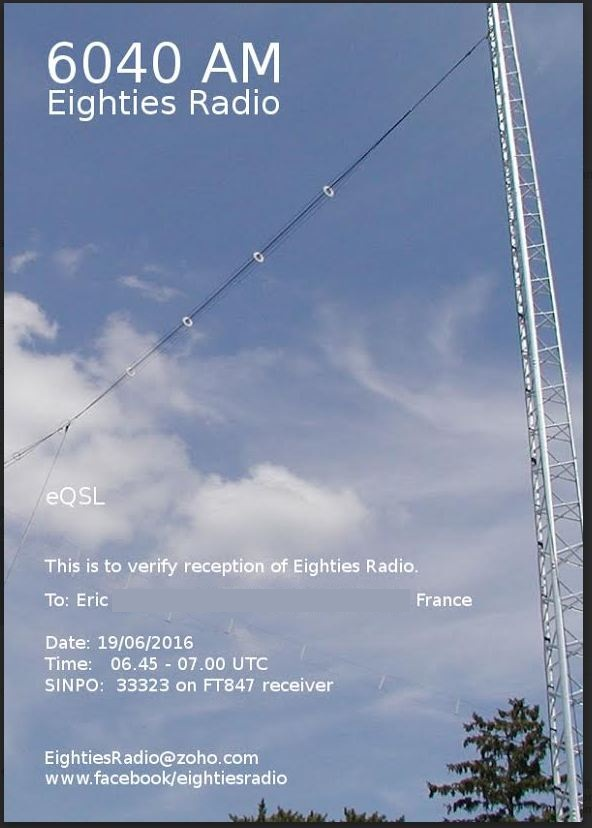 eQSL de Eighties radio 80_rad10