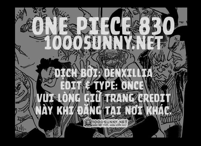 One Piece Chapter 830: Người mà ta có thể đặt cược. Credit11