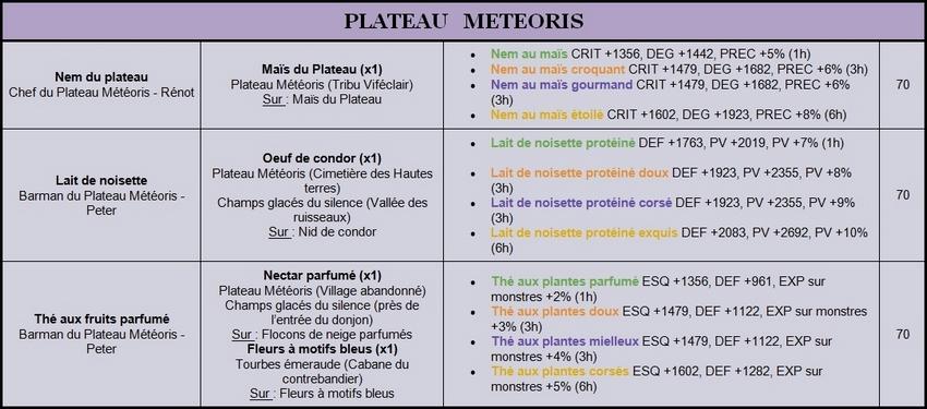Recettes Lv.70 Meteor11