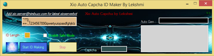 Xio Auto Captcha ID Maker. Fastest Auto ID Maker Xp10